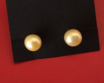 Pale Butter Yellow 8mm Cultured Genuine Pearl Stud Earrings With Sturdy 925 Posts and Stainless Steel Backs