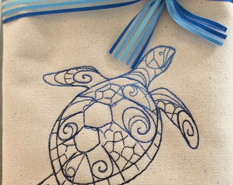Sea Turtle Canvas Tote
