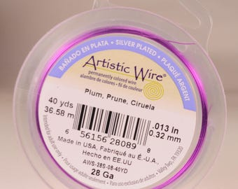 Artistic wire 28 gauge: silver-plated, copper core, plum color