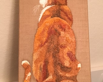 Orange tabby oil painting