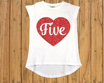 Five shirt, Girls Fifth birthday Shirt, birthday shirt 5 year old, fifth birthday gift, girl birthday outfits, Baby girl 5th birthday outfit