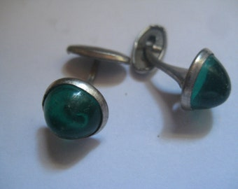 Rhodium Plated Victorian Cufflinks with Green Stones