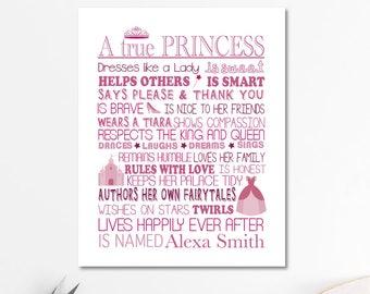 A true Princess, princess poster, girls room decor, princess decor, princess party, nursery decor, little girls room decor, be a princess