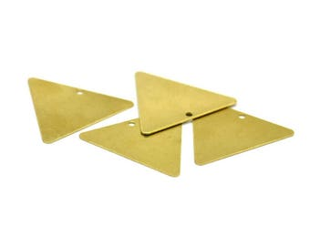Brass Necklace Triangle, 20 Raw Brass Triangle Pendant With 1 Hole (22x25mm) Brs 3013 ( A0083 )