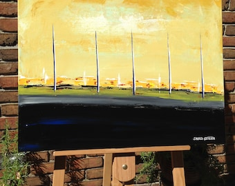"ORiGiNAL ART ""BEiNG THERE"" Mid Century Modern Landscape Abstract   - Acrylic on canvas 24"" X 18"" (17-0901)  I am the ARTiST !"