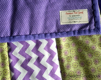 SALE! Purple and Lime Green Baby Girl Crib Quilt.  Baby Quilt. - Modern #BQ102