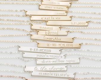 Personalized, Custom Name Necklace • 14k Gold Fill, Silver, Rose Gold • Name Bar Necklace: Layered and Long PERFECT BAR Necklace, LN140_35_H