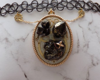 Black Crystal Steam Punk Necklace
