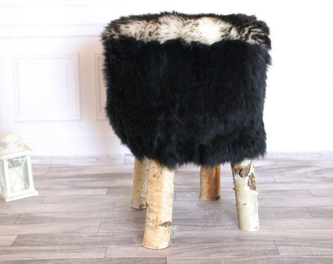 Wood Stool | Fur Stool | Sheepskin pouf | Sheepskin stool | Vanity Stool | Birch tree stool | Black stool