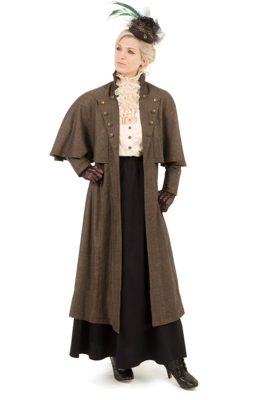 Victorian Jacket, Coat, Ladies Suits | Edwardian, 1910s, WW1 Mademoiselle Janette Edwardian Cape Coat $173.00 AT vintagedancer.com