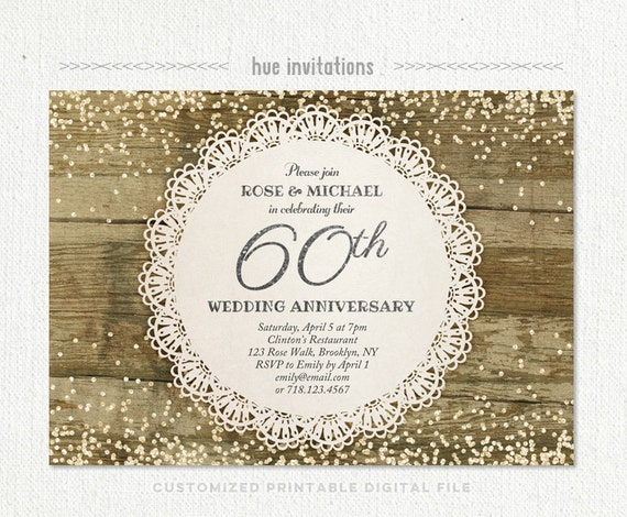 60th Wedding Anniversary Invitation, Diamond Glitter Silver Confetti Rustic  Lace Anniversary Party Invite, Diamond Jubilee Invitation 205
