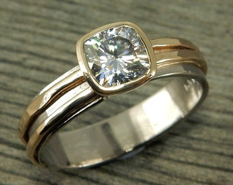 Engagement Ring - Forever Brilliant Moissanite, Recycled 14k Yellow Gold, and 18k Palladium White Gold, Ready to Ship, size 8.25