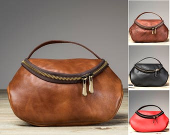 Leather Makeup Bag, Mother's Day Gift,  Makeup Bag, Personalized Leather Makeup Bag, Bridesmaid Leather Make Up Bag