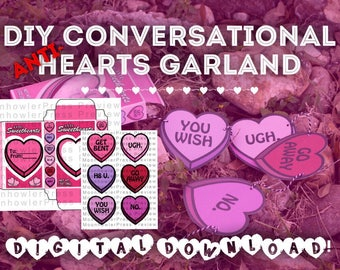 DIGITAL - DIY Anti-Sweethearts (NEGATIVE Conversation Hearts) Garland, Valentine's Day Decor, Handmade Valentine's Gift