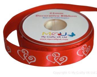 1 Metre of 25mm Double Heart Ribbon - Crimson Red - Wedding Anniversary Decoration Cake