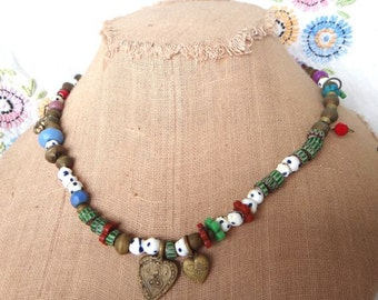 Necklace Double Heart Charm necklace