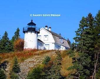 Bear Island Lighthouse, Northeast Harbor, Maine, Rocks, Coast, Seashore, Mt. Desert Island, Acadia, Fine Art Photo, Wall Art