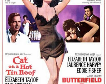 Elizabeth Liz Taylor double feature movie poster 11 x 17 Cat on a Hot Tin Roof Butterfield 8 Paul Newman Eddie Fisher Laurence Harvey