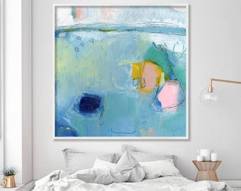 """blue ABSTRACT Print on Canvas, Large Wall Art Fine Art Print, up to 40x40"""" Abstract Art blue, teal, pink"""