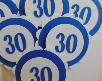 30th Birthday Cupcake Toppers - Royal Blue and White - Adult Birthday Party Decorations - Gender Neutral - Set of 6