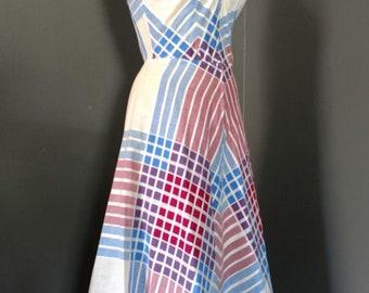 FREE SHIP 1940s Joan Curtis Sundress Matching Bolero Shorty Jacket Art Deco Purple Blue Geometric print