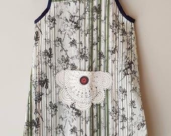 Daisy - girls dress, recycled shirt, size 4