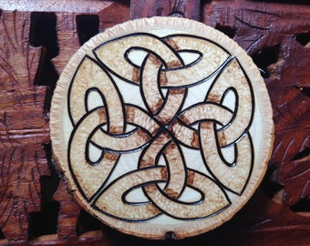"3"" Wood Burned Magnet - Handmade Wood Magnet, Celtic Knot, Bohemian Magnet"