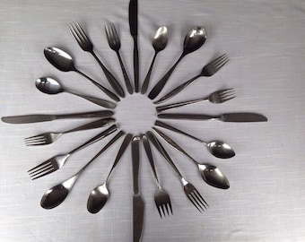 Mismatched Silverware Mid Century Danish Modern Stainless Flatware 40 pc Vintage Dinner Service for 8