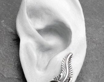 Sterling EAR PIN - Single GARDENIA Silver and Pearl Flower & Leaf Ear Sweep Earring