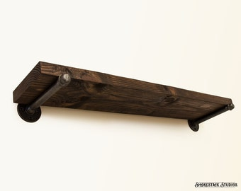 Rustic Shelves w/ Straight Pipe Brackets - Wooden Accent Shelf - Industrial Chic - Rustic Modern Decor - Pipe Shelves - Straight Pipe Shelf
