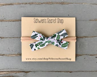 Christmas baby headband, hand tied bow, baby girl bow, baby bow headband, nylon headband, baby hair bow, school girl bow, baby headband