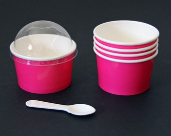 Bright Pink Paper Cups (4 oz) with Plastic Dome Lids - 12 Quantity