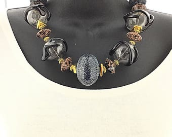 Handblown Black and Blue Silver Frost Murano Glass Necklace
