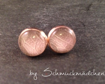Earrings rose gold leaf Rosé