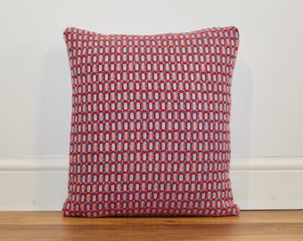 Bespoke Handwoven Multicoloured Textured Squares Cushion