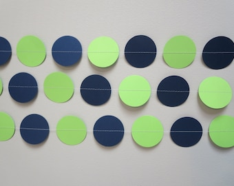 Navy Green Paper Garland Backdrop Party Decor Photo Prop Backdrop Birthday Circle Tailgate Man Cave Tailgate