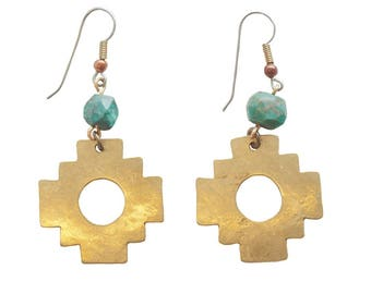 Turquoise Chakana Earrings, Hand cut brass inca cross with African turquoise, Aztec, Ethnic, Tribal, Wild, Raw, Symbolic, Statement Earring