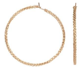 Gold Hoop earrings , Wire crochet Earrings ,  Extra large Gold hoop earrings , unique hoop earrings , Gypsy bohemian fashion