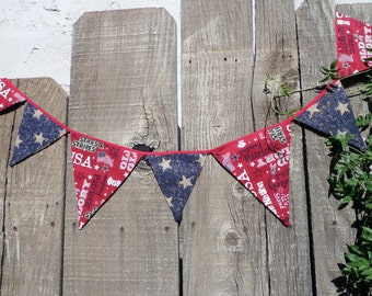Whimsical Patriotic Fourth of July Bunting  Shabby Chic OOAK