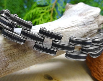 Stainless Steel with Rubber Biker Bracelet