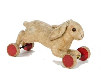 FOR SUSAN LAYAWAY 1 of 3 A Rare late 1930s Plush Steiff Running Rabbit On Eccentric Wheels