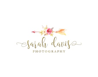 Photography logo and watermark, premade watercolor flowers logo design, bohemian logo, vintage tribal floral arrow logo custom design 393