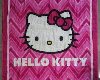Hello Kitty Quilt , Girl Quilt, Girl Blanket, Pink Quilt, Pink Blanket, Cat Quilt/Blanket