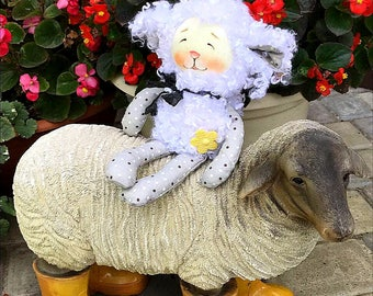 Organic sheep sleeping soft toy for Baby photography First birthday gift for granddaughter New baby gift Eco friendly toy Sheep Comforter
