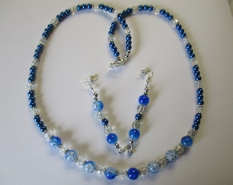 Sapphire blue beaded necklace with matching pierced earrings - # 576