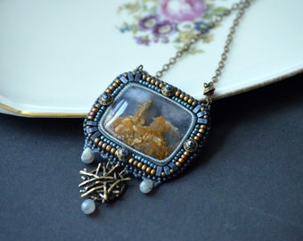 Moss Agate Bead Embroidery Necklace, Beaded Pendant