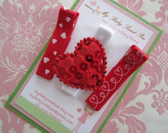 Girl hair clips - valentine hair clips - valentine barrettes