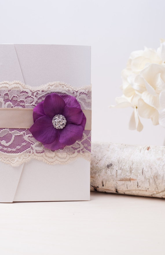 VINTAGE GLAMOUR: Elegant Lace Wedding Invitation Plum Purple