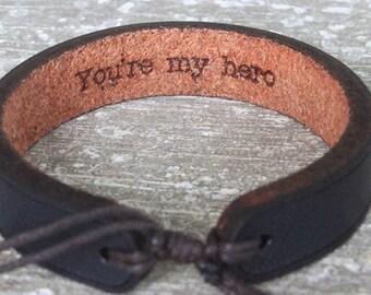 Men's leather bracelet-hidden message bracelet-Personalized leather bracelet custom leather bracelet- anniversary gift- gift for men- custom