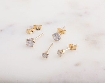 Cubic Zirconia 14K Gold Filled or Silver Stud Earring Component, Jewelry Making Supplies, 3mm and 4mm Gold Studs Available, Simple, GFER118